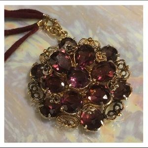 Vintage Plum Purple Gold Pendant Necklace